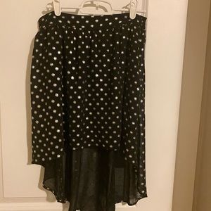 forever21 asymmetrical polka dot black skirt